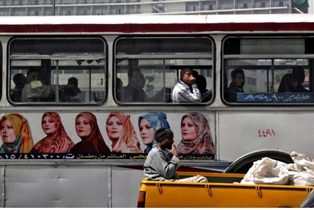 Egyptians on segregated Cairo bus