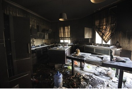 Damage inside the burnt consulate building in