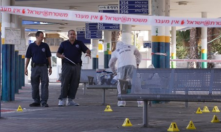 Afula's Central Station after attack