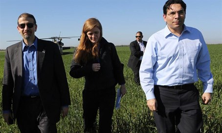 Ambassadors Samantha Power (C), Danny Danon (R) and Dan Shapiro