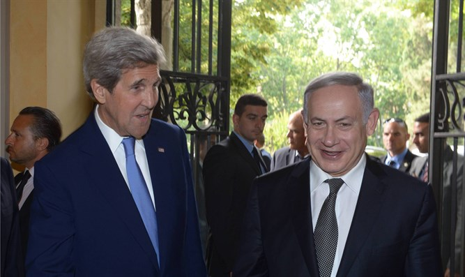 Binyamin Netanyahu with John Kerry in Rome