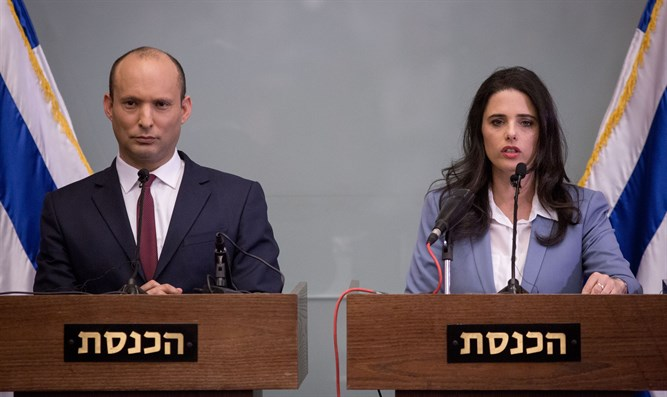 Shaked (R) and Bennett in press conference