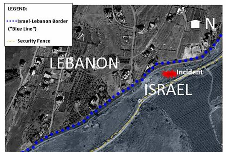 Map of Lebanese border clash
