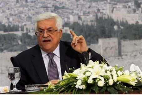 Abbas speaks during a news conference in Rama