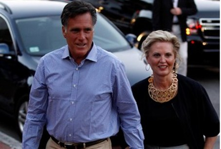 Mitt and Ann Romney in Massachusetts on Satur