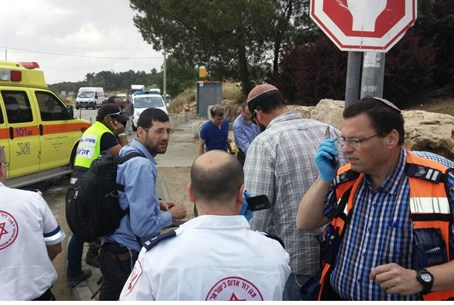 Scene of the attack, next to Alon Shvut in Gush Etzion