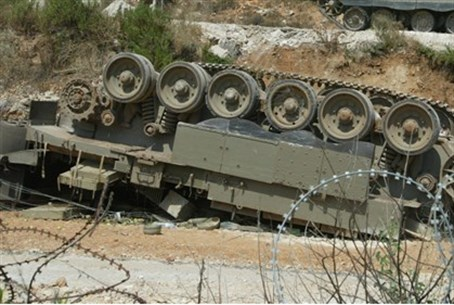 Overturned APC in Kfar Adumim