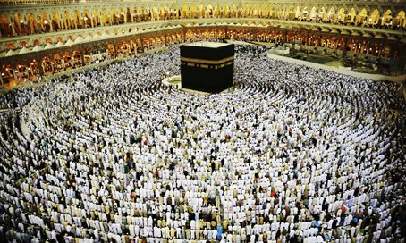 Muslim pilgrims at the Kaaba in Mecca