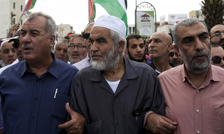 Sheikh Raed Salah at an anti-Israel march with other Arab leaders in Sakhnin