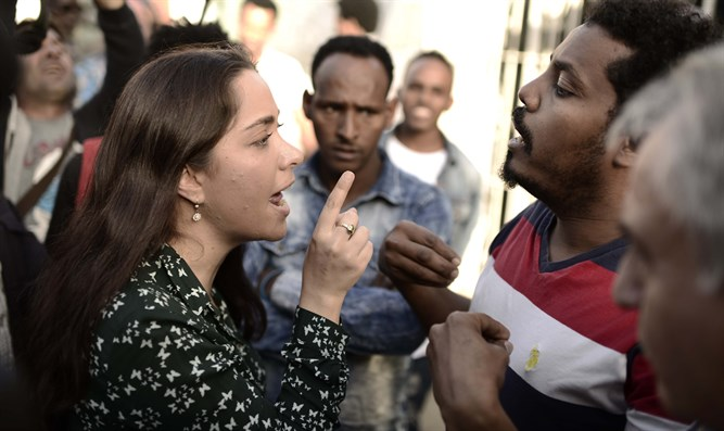 May Golan confronts illegal immigrants in south Tel Aviv