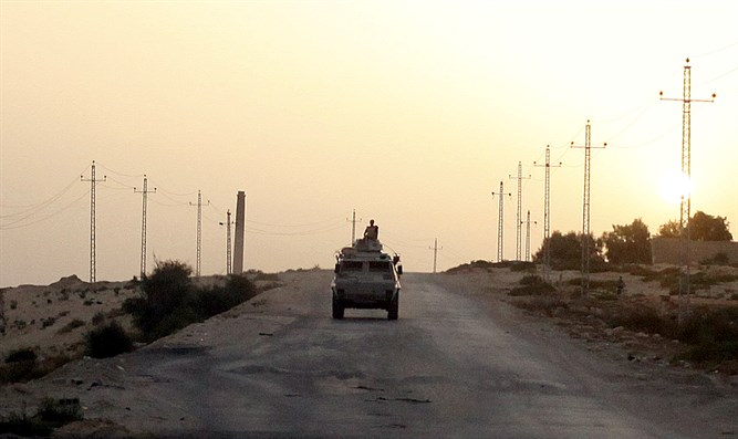 Egyptian military vehicle in northern Sinai