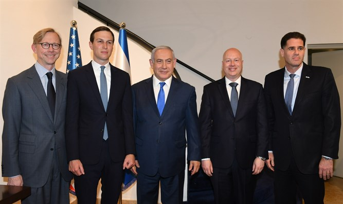 Netanyahu with Brian Hook, Jared Kushner, Jason Greenblatt and Ron Dermer.